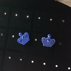 Blue Crown Earrings